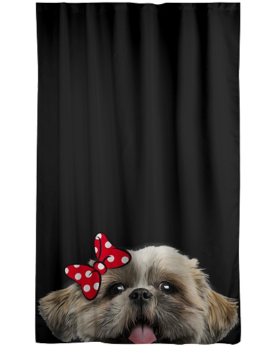Shih tzu cute face window curtain