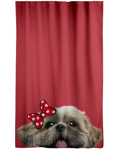 Shih tzu cute face window curtain