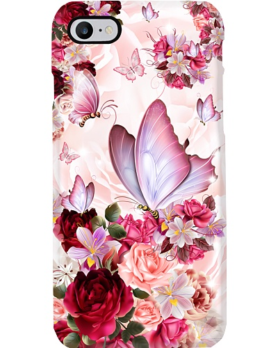 SHN 10 Pink roses Butterfly phone case