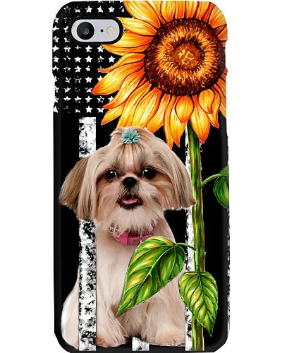 Shih tzu puppy flag and sunflower phone case