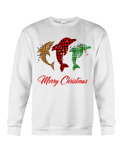 Dolphin merry christmas plaid colors