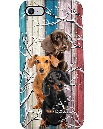 Dachshund Snow Wood Phone Case