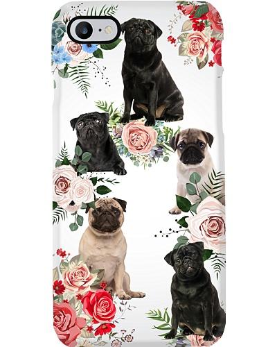 Pug flowers phone case