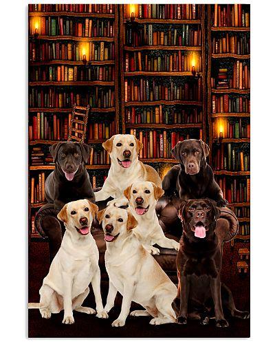 Golden retriever full of books poster