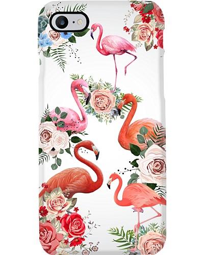 Flamingo flowers phone case