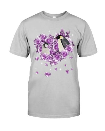 Penguins mom purple rose shirt