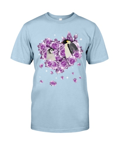 Penguins mom purple rose shirt