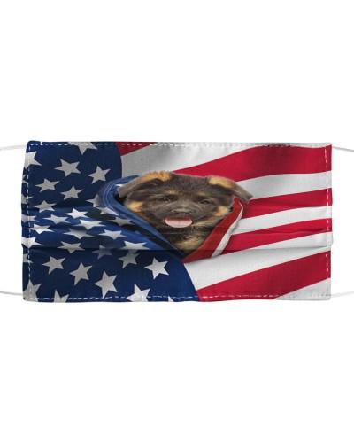 SHN 10 Opened American flag German Shepherd