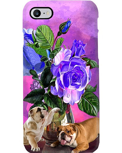 Bulldog so cute with flower phone case