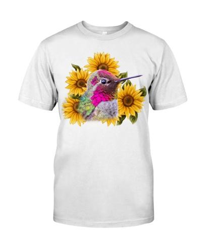 Hummingbird beautiful sunflowers