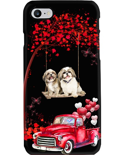 Shih tzu red love world with btfl pink