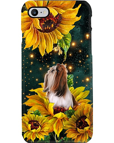 Shih tzu in the light sunflower world be a dog