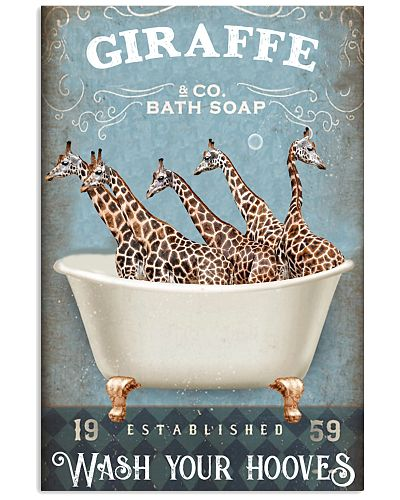 Giraffe wash your hooves poster