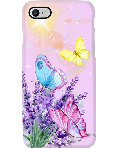 Butterfly With Lavender Flower Phone Case