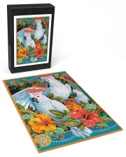 Umbrella Cockatoo In Tropical Forest 250 Piece Puzzle (vertical) aos-jigsaw-puzzle-250-pieces-vertical-front-03