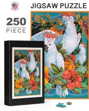 Umbrella Cockatoo In Tropical Forest 250 Piece Puzzle (vertical) aos-jigsaw-puzzle-250-pieces-vertical-lifestyle-front-24