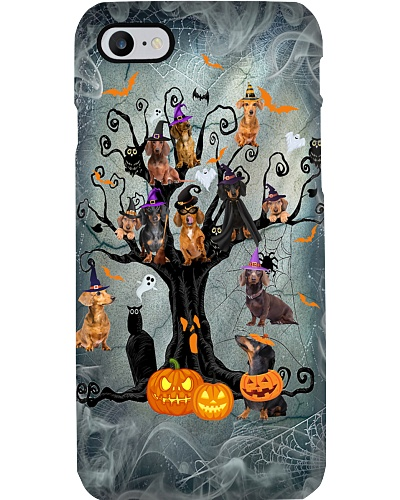 Dachshund halloween tree phone case
