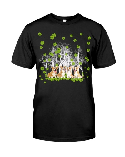 Corgi in four leaf clover forest lucky shirt