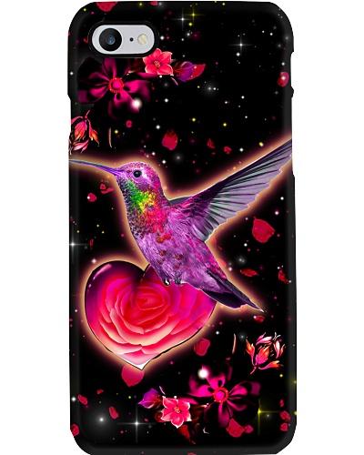 Flower Heart Hummingbird Phone Case