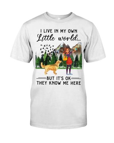 SHN Live in my little world Golden Retriever shirt