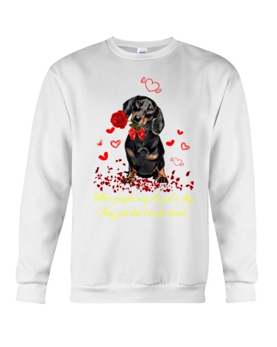 Dachshund big red heart with wings
