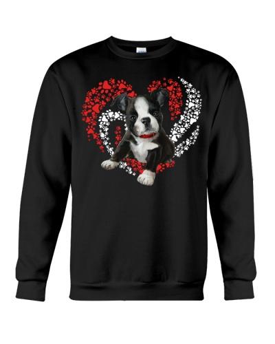 Boston terrier paw heart