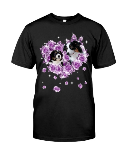 Australian Shepherd mom purple rose shirt