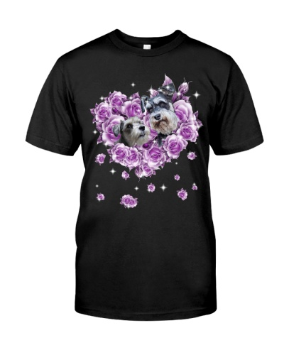 Schnauzer mom purple rose shirt