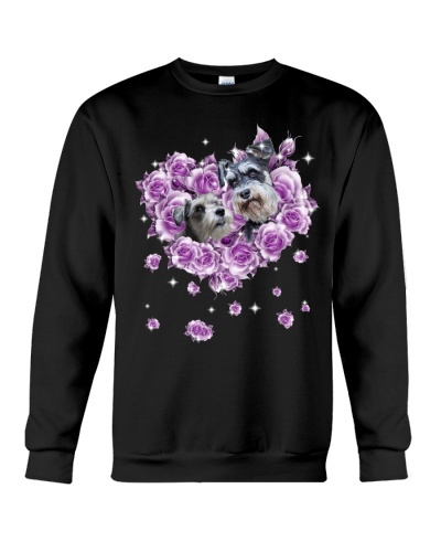 Schnauzer mom purple rose shirt