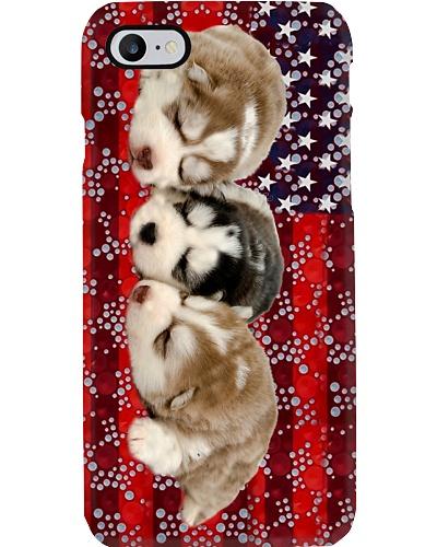 Siberian husky red phone case