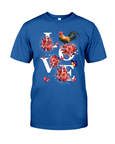 Chicken love with red flower shirt