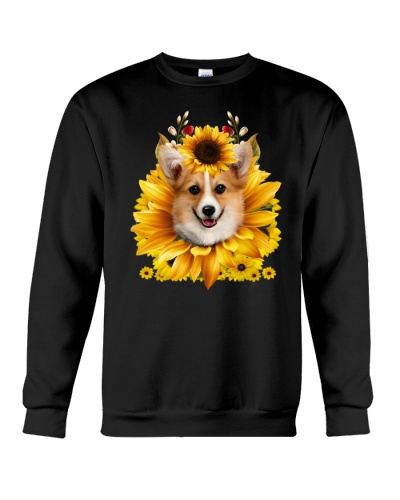 Corgi face sun flower shirt