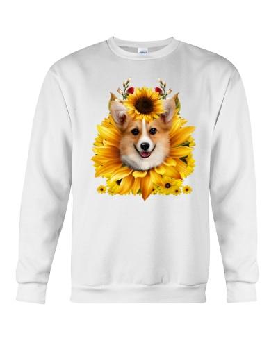 Corgi face sun flower shirt