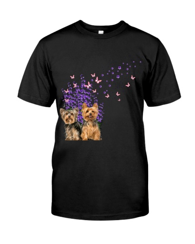 Cute Yorkie With Lavender Flower