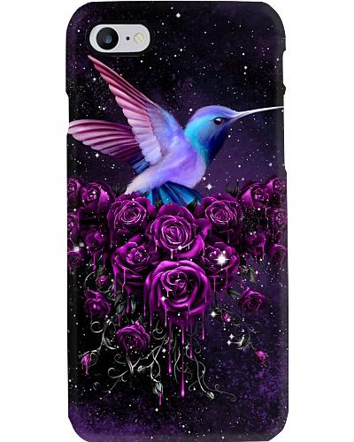 Purple Rose And Hummingbird Phone Case