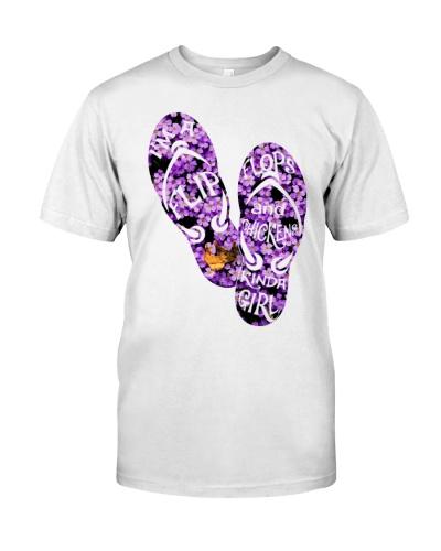 Chicken purple flipflops flower