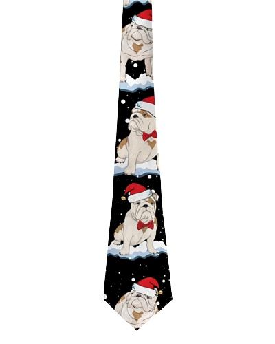 Bulldog christmas tie