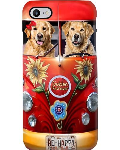 Mt 8 Be Happy Peace Car Golden Retriever Phone Cas