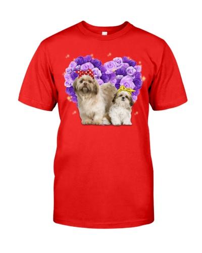Shih tzu purple roses heart