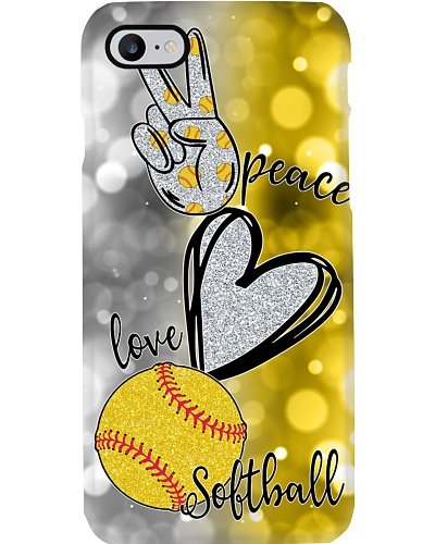 Softball live in peace phone case
