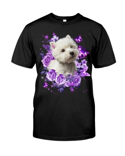 West highland white terrier purple flowers