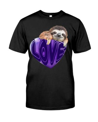 Sloth love heart purple shirt