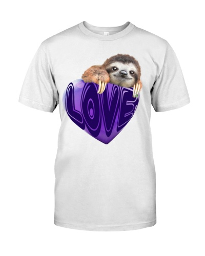 Sloth love heart purple shirt