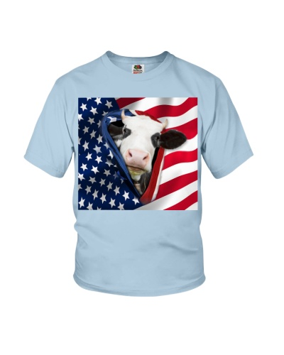 SHN 10 Opened American flag Cow