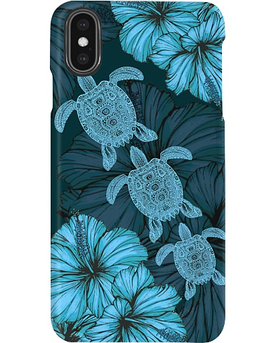 SHN 8 With blue hibiscus Turtle fixed phone case