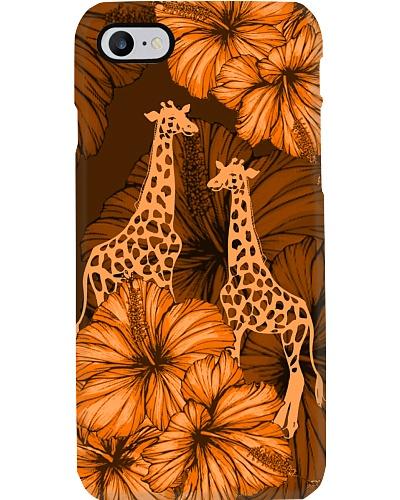 SHN 8 With orange hibiscus Giraffe phone case