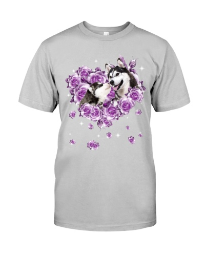 Siberian husky mom purple rose shirt