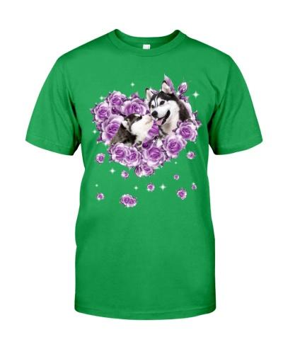 Siberian husky mom purple rose shirt