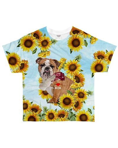 SHN 7 I love mom sunflower English Bulldog