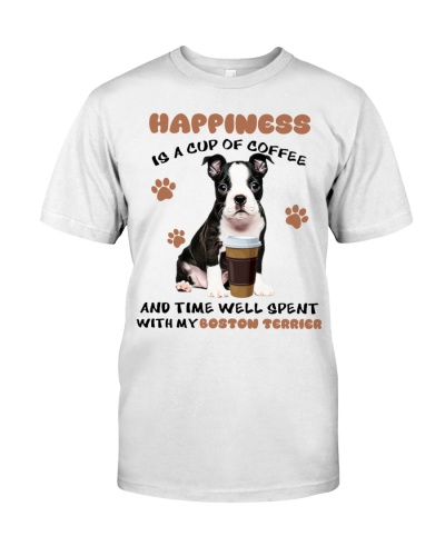 Coffee and time well spent with Boston Terrier